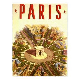 Viaje del vintage Arco del Triunfo París Francia Tarjeta Postal