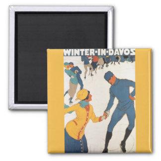 Viaje del vintage art déco invierno Davos Suiza Imanes