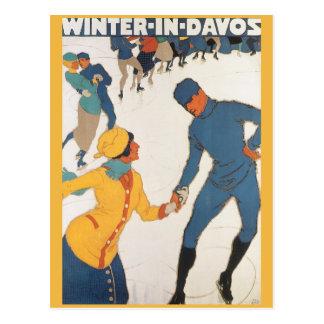 Viaje del vintage, art déco, invierno Davos Suiza Tarjeta Postal