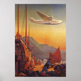 Viaje del vintage, avión sobre los desperdicios en póster