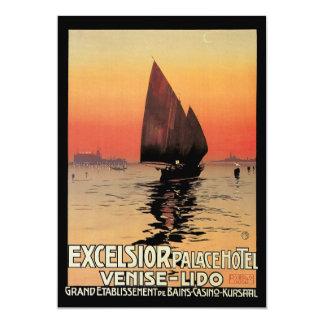 """Viaje del vintage, barcos en el palacio Venecia de Invitación 5"""" X 7"""""""
