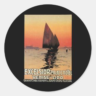 Viaje del vintage, barcos en el palacio Venecia de Pegatina Redonda