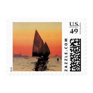 Viaje del vintage, barcos en el palacio Venecia de Timbre Postal