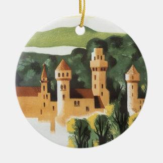Viaje del vintage, castillo alemán, Baviera Adorno Navideño Redondo De Cerámica
