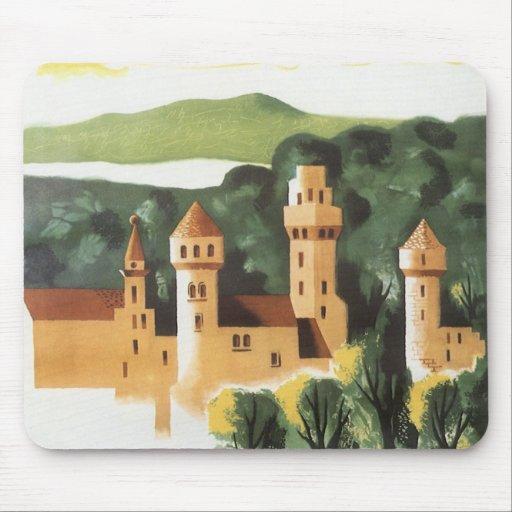 Viaje del vintage, castillo alemán, Baviera Aleman Alfombrillas De Ratón