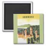 Viaje del vintage, castillo alemán, Baviera Iman De Frigorífico