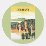 Viaje del vintage, castillo alemán, Baviera Etiquetas Redondas