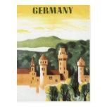 Viaje del vintage, castillo alemán, Baviera Tarjetas Postales