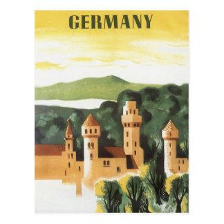 Viaje del vintage, castillo alemán, Baviera Postal