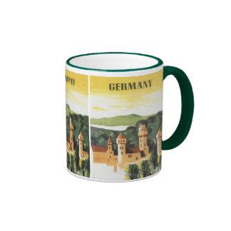 Viaje del vintage, castillo alemán, Baviera Taza A Dos Colores
