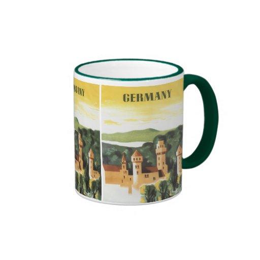 Viaje del vintage, castillo alemán, Baviera Taza