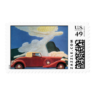 Viaje del vintage, coche rojo antiguo con la mujer sello postal