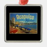 Viaje del vintage de Acapulco México Adorno Cuadrado Plateado