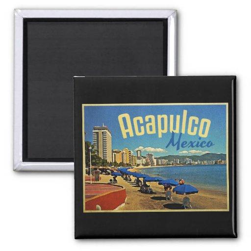 Viaje del vintage de Acapulco México Imán Cuadrado