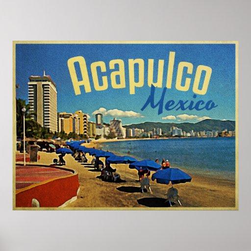 Viaje del vintage de Acapulco México Impresiones