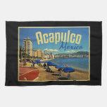 Viaje del vintage de Acapulco México Toalla De Cocina