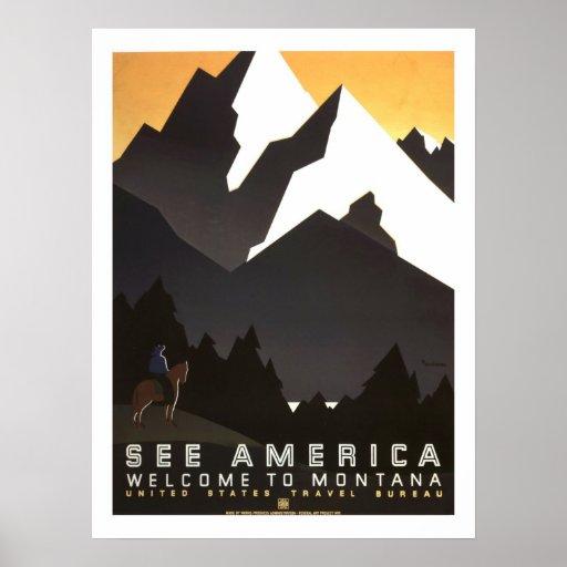 Viaje del vintage de América Póster