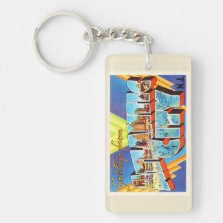 Viaje del vintage de Atlantic City 2 New Jersey NJ Llavero Rectangular Acrílico A Doble Cara