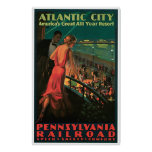 Viaje del vintage de Atlantic City New Jersey Póster