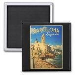 Viaje del vintage de Barcelona España Imanes