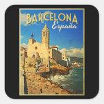 Viaje del vintage de Barcelona España Calcomanías Cuadradas Personalizadas