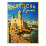 Viaje del vintage de Barcelona España Tarjetas Postales