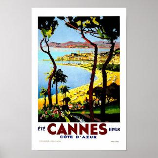 Viaje del vintage de Cannes Francia Póster