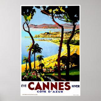 Viaje del vintage de Cannes, Francia Póster