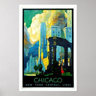 Viaje del vintage de Chicago Illinois Póster