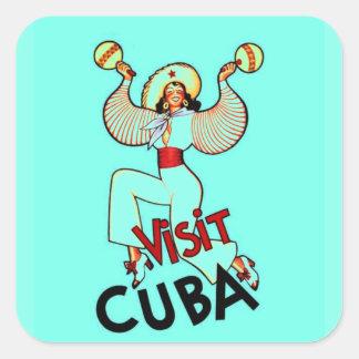 Viaje del vintage de Cuba de la visita Pegatina Cuadrada