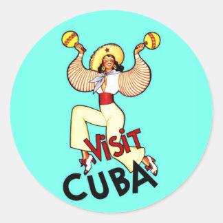Viaje del vintage de Cuba de la visita Pegatina Redonda
