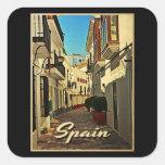 Viaje del vintage de España Calcomanía Cuadradas Personalizadas