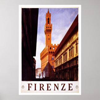 Viaje del vintage de Firenze Italia Palazzo Poster