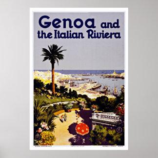 Viaje del vintage de Génova y de Riviera Italia Póster