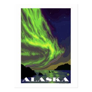 Viaje del vintage de la aurora boreal y de las postales
