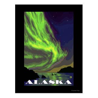 Viaje del vintage de la aurora boreal y de las tarjeta postal