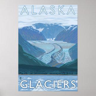 Viaje del vintage de la escena del glaciar de Alas Póster