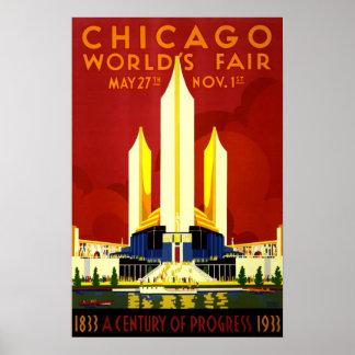 Viaje del vintage de la feria de mundo de Chicago Impresiones