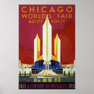 Viaje del vintage de la feria de mundo de Chicago Póster