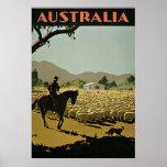 Viaje del vintage de la granja de las ovejas de póster