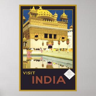Viaje del vintage de la India de la visita Póster