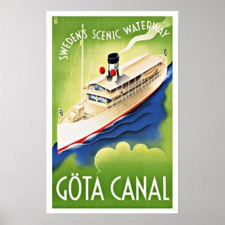 Viaje del vintage de la nave de Suecia del canal Impresiones
