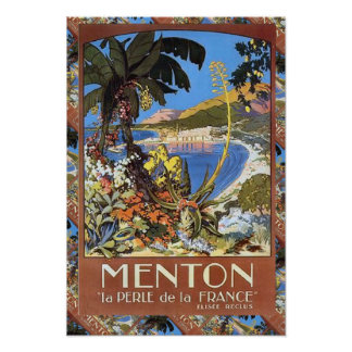 Viaje del vintage de la reproducción, Menton rivie Póster