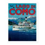 Viaje del vintage de Lago Di Como Italia Postal