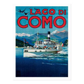 Viaje del vintage de Lago Di Como Italia Tarjetas Postales