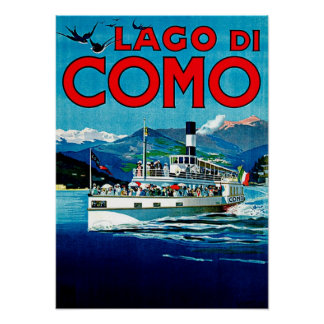 Viaje del vintage de Lago di Como Lake Italia Posters