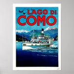 Viaje del vintage de Lago di Como Lake Italia Póster