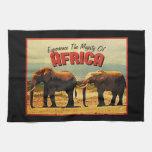 Viaje del vintage de los elefantes de África Toallas De Mano