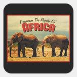 Viaje del vintage de los elefantes de África Pegatina Cuadrada