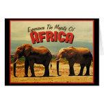 Viaje del vintage de los elefantes de África Felicitacion